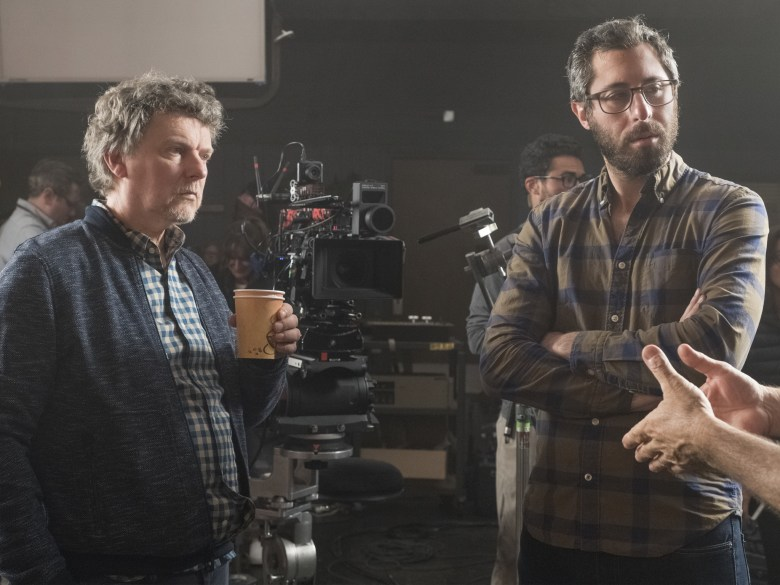 """Michel Gondry and David Holstein on the set of """"Kidding."""""""