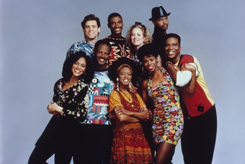 No Merchandising. Editorial Use Only. No Book Cover Usage.Mandatory Credit: Photo by E.J. Camp/Fox-TV/Kobal/REX/Shutterstock (5879337i) Kim Coles, Jim Carrey, Keenan Ivory Wayans, Tommy Davidson, T'Keyah Crystal, Kelly Coffield, Kim Wayans, Damon Wayans, David Alan Grier In Living Color - 1990-1994 Fox-TV Television In Living Colour