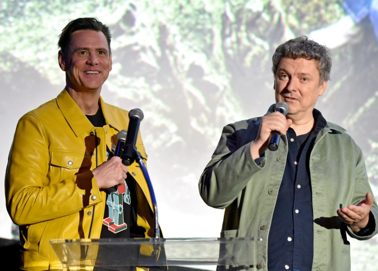 """Jim Carrey and Michel Gondry at the """"Kidding"""" premiere."""