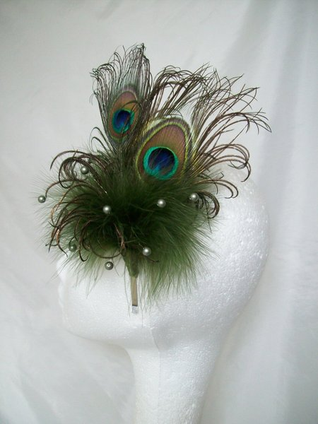 Olive Khaki Green Peacock Feather Amp Pearl Crystal