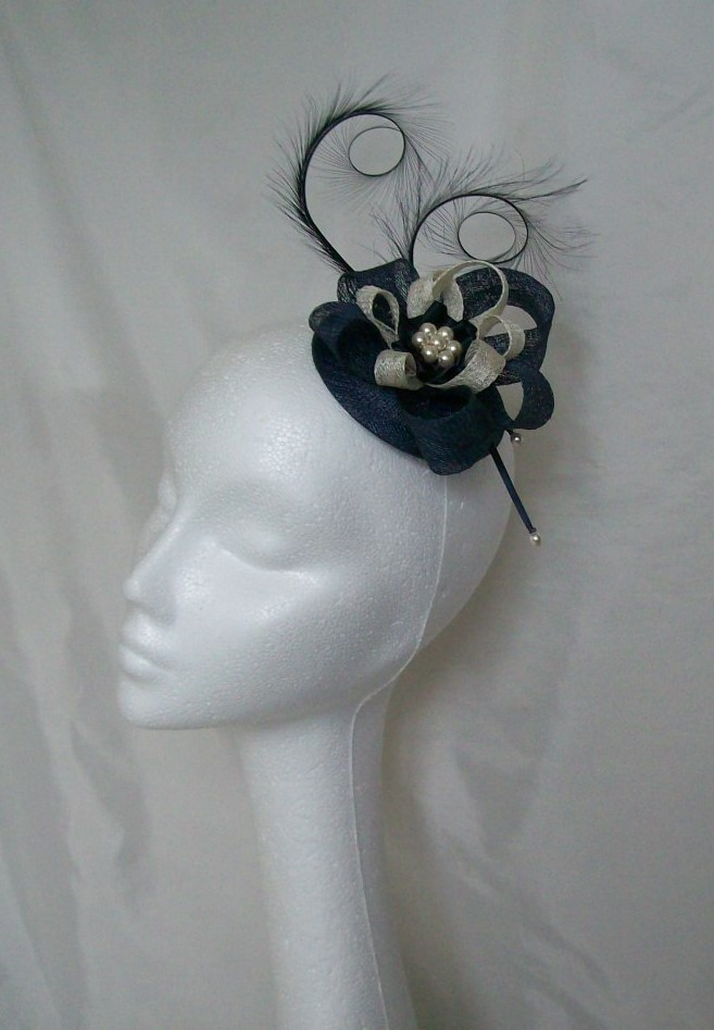 Navy Amp Ivory Delilah Pheasant Curl Feather Sinamay Fascinator