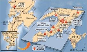 Mappa attentati di Mumbai
