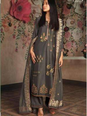 Ganga Cherie Pure Russian Silk Solid With Heavy Embroidery Suit 7829 Sale