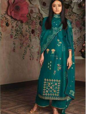 Ganga Cherie Pure Russian Silk Solid With Heavy Embroidery Suit 7830 Ganga Cherie