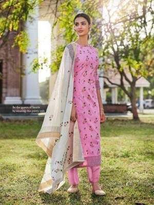 JayVijay Enhance Pure Cotton Block Gold Print With Handwork Suit 4543 Sale