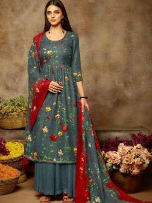 Sargam Mishkaa Pashmina Print With Khatli Shisha Work Suit 153-002 Ready To Ship