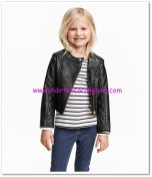 HM-kız çocuk siyah deri motosikletçi ceketi-70 TL