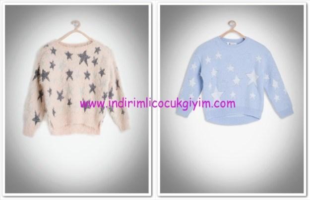 Koton Kids kız çocuk yıldız desenli kazak-