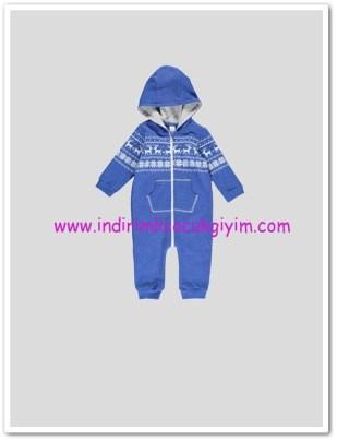 LCW yenidoğan erkek bebek mavi kapüşonlu ayaksız tulum-35 TL