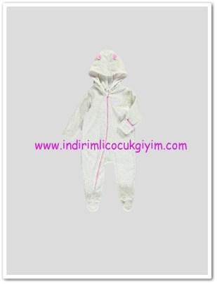 LCW yenidoğan kız bebek ekru kapşonlu ayaklı tulum-30 TL