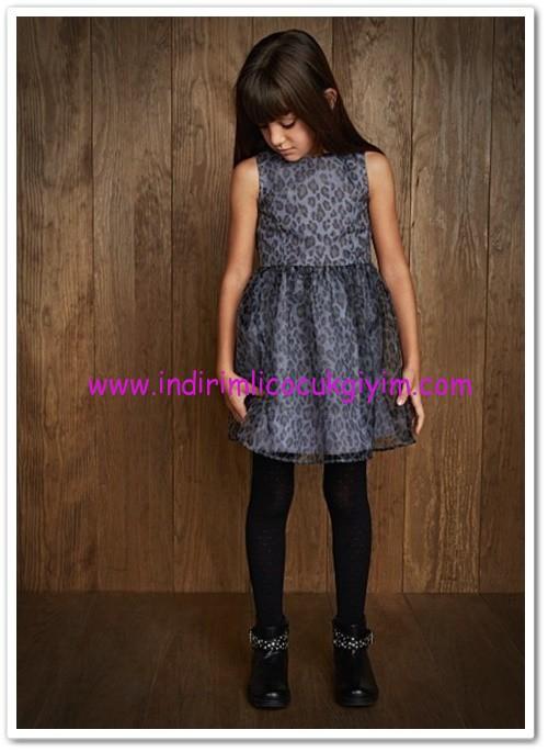 Mango kız çocuk leopar desenli organze elbise-40 TL