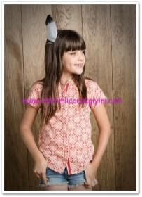 Mango outlet kız çocuk geometrik desenli gömlek-30 TL
