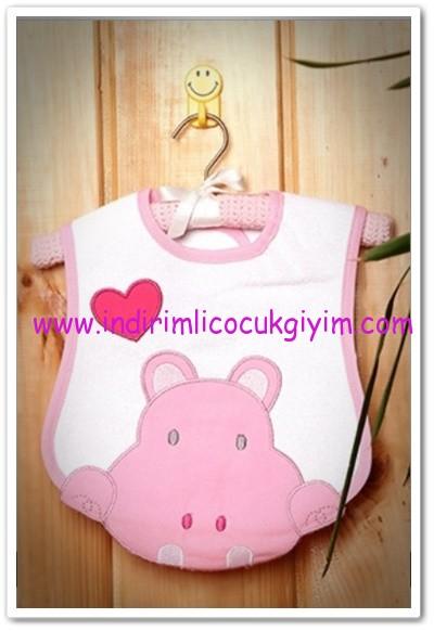 35189c046ccaf Tozlu Giyim pembe hipopotamlı kız bebek önlüğü-13 TL | İndirimli ...