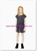 Mango kız çocuk kömür karası pullu boncuklu elbise-45 TL