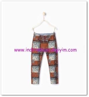 Zara kız çocuk kiremit rengi desenli cepli pantolon-20 TL
