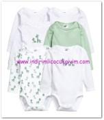 HM-kız bebek beyaz-yeşil 6 lı body-50 TL