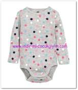 HM-kız bebek gri puantiyeli body-15 TL