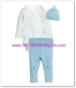 HM-kız bebek mavi body-pantolon takımı-30 TL