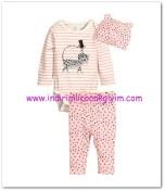 HM-kız bebek pembe kedili body-tayt takımı-30 TL