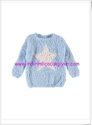 LCW kız çocuk mavi yıldızlı kazak-25 TL