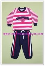 Tozlu Giyim fuşya çizgili bebek 2 li takım-20 TL