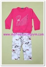 Tozlu Giyim fuşya kuğu baskılı bebek 2li takım-20 TL