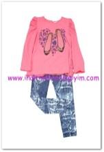 Tozlu Giyim pembe tunik-tayt kız takımı-15 TL