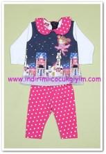 Tozlu giyim kız bebek baskılı ikili takım-20 TL