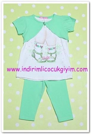 Tozlu kız çocuk nil yeşili taytlı ikili takım-25 TL