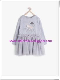 Koton kız çocuk gri desenli elbise-43 TL