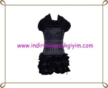 Puledro kız çocuk siyah fırfırlı abiye elbise-50 TL