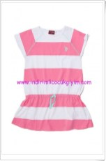 U.S Polo kız çocuk pembe çizgili elbise-40 TL