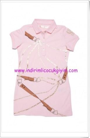 U.S Polo kız çocuk pembe zincir desenli elbise-30 TL