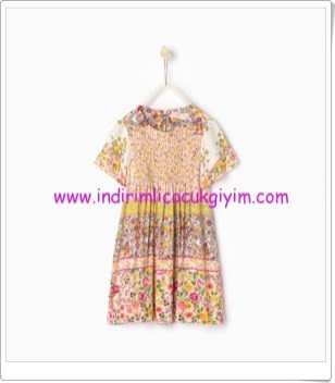 Zara kız çocuk çiçek desenli yazlık elbise-80 TL