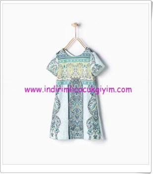 Zara kız çocuk mavi karo desenli elbise-90 TL
