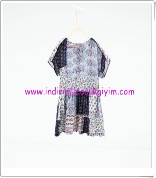 Zara kız çocuk mavi patchwork desenli elbise-76 TL