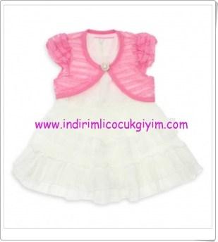 modakids-kiz-cocuk-pembe bolerolu beyaz elbise-45 TL