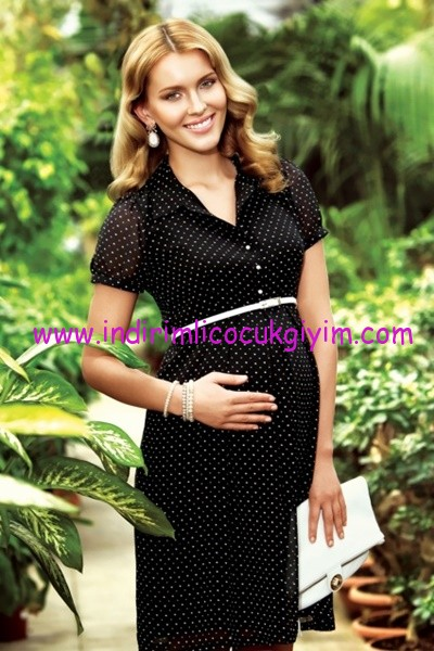 Ebru Maternity klasik siyah hamile elbisesi