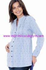 Ebru Maternity mavi hamile gömlek
