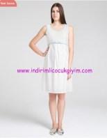 Kemer detaylı ekru hamile elbisesi-180 TL