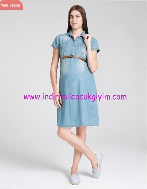 Mavi hamile kot elbisesi-190 TL
