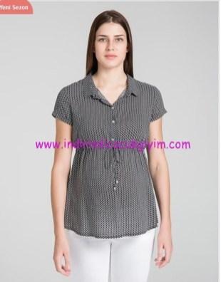 Siyah geometrik desenli hamile gömleği-125 TL