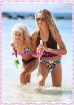 Bonprix kahve baskılı kız çocuk bikini-tankini set-90 TL