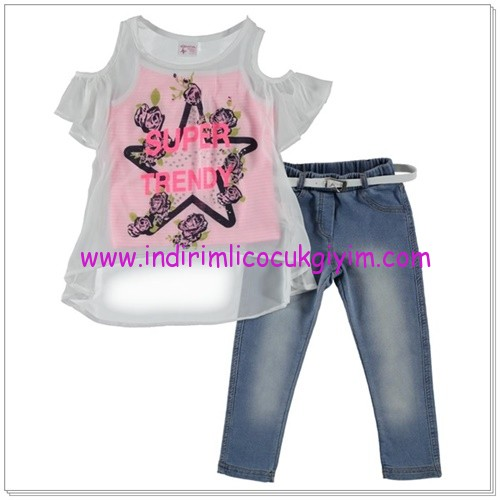Civil kız çocuk kot pantolon-bluz takım