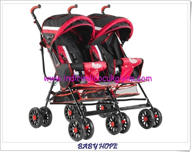 babyhope-610-ikiz-kirmizi-baston bebek arabası