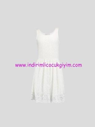 LCW genç kız ekru dantelli elbise