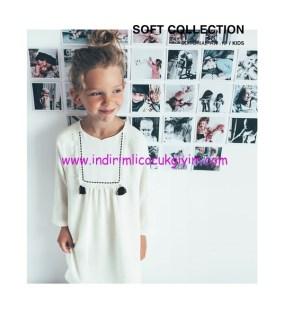 Zara kız çocuk beyaz işlemeli elbise