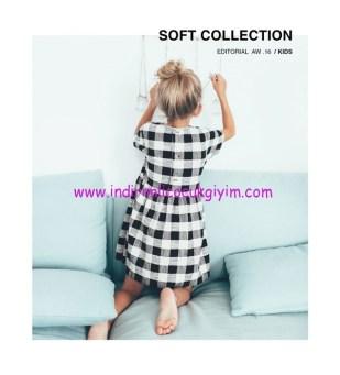 Zara kız çocuk siyah pötikareli elbise