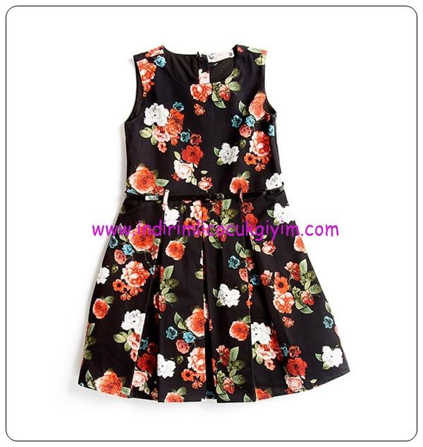LC Waikiki kız çocuk siyah çiçekli bayramlık elbise