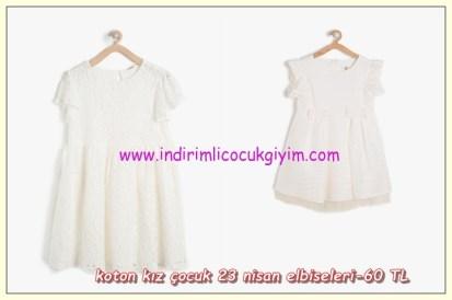 Koton kız çocuk ekru 23 nisan elbiseleri